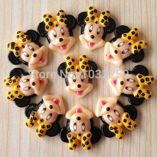 Lote 500 pcs Minnie Mouse Leopard Bow resina cabochões Flatbacks plano voltar telefone Deco cabelo Bow suas fotos artesanato quadro DIY BXT252(China (Mainland))