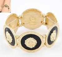 Jewelry Fashion 2014 Bijoux Trendy Gold Black Lion Head Medallion Chunky  Bangle Bracelet #ftzy88_12011613