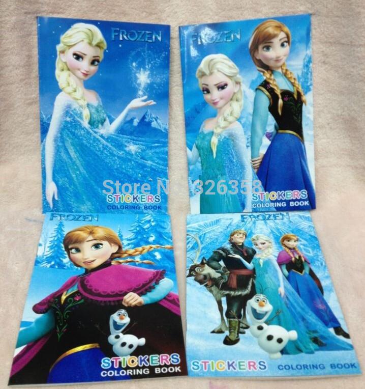 10 pcs/lot girls Frozen Coloring Notebook/kids Snow Queen Coloring book stickers/Children Princess Elsa Anna school supplies(China (M