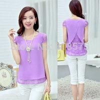 4 Colors new desigual women's summer clothing 2014 plus size sweet cute elegant lace chiffon blouses & shirts,woman clothes sale