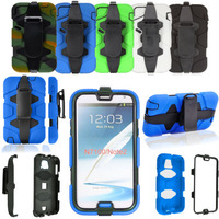 High Quality WaterProof ShockProof Armor Military Heavy Duty Case W/ Belt Clip for Samsung Galaxy Note 2 II N7100 Cellphone