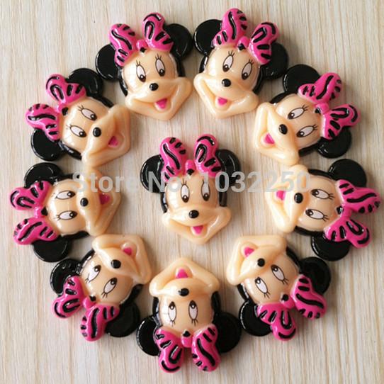Lote 500 pcs Minnie Mouse Zebra Hot Pink Bow resina cabochões Flatbacks plana volta da menina do cabelo Bow centro Photo Frame artesanato DIY BX254(China (Mainland))