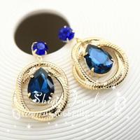 new Fashion personality circle crystal bohemia drop pendant stud  earrings female