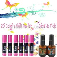 Hot!New 2014 sale 20 pcs Nail Art UV Gel Soak Off Gel Polish base coat top coat uv gel nail polish set