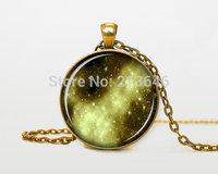 1pcs Gold Nebula pendant Gold Nebula necklace Gold Nebula jewelry galaxy universe stars space gift Glass Cabochon Necklace A0094