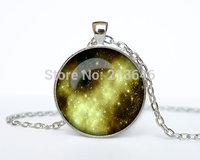 Gold Nebula pendant Gold Nebula necklace Gold Nebula jewelry galaxy universe stars space gift Glass Cabochon Necklace A0092