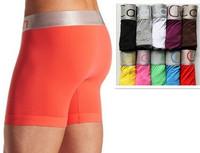 2014 Wholesale Cotton10pcs/lot Brand Name(C0012) Men Underwear long Boxer Shorts Sexy Fashion Long Boxers For Men Free Shipping