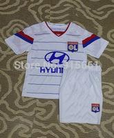14/15 season lyon kids home white soccer football jerseys + shorts kits, Olympique Lyonnais children soccer Uniforms, size:16-28