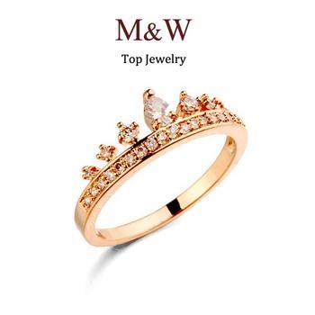 9$ бесплатная доставка! Aaa качество кубический циркон корону кольцо реального позолоченный ювелирные изделия кольца