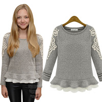 sweaters 2014 women fashion spring and autumn patchwork solid slim pullover sweater  women's clothing 9927
