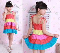New 2014 girl summer beach dress kids sling dress girls 2 style wear rainbow color dress children's clothing FREE SHIPPING