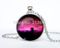 1pcs Seahorse Nebula pendant seahorse Nebula necklace jewelry galaxy universe stars space gift Glass Cabochon Necklace A0100
