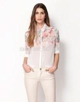Hot Sell Free Shipping European Style Flower Print Long-sleeved Chiffon Blouse Gradient Shirt Female Women T-shirt