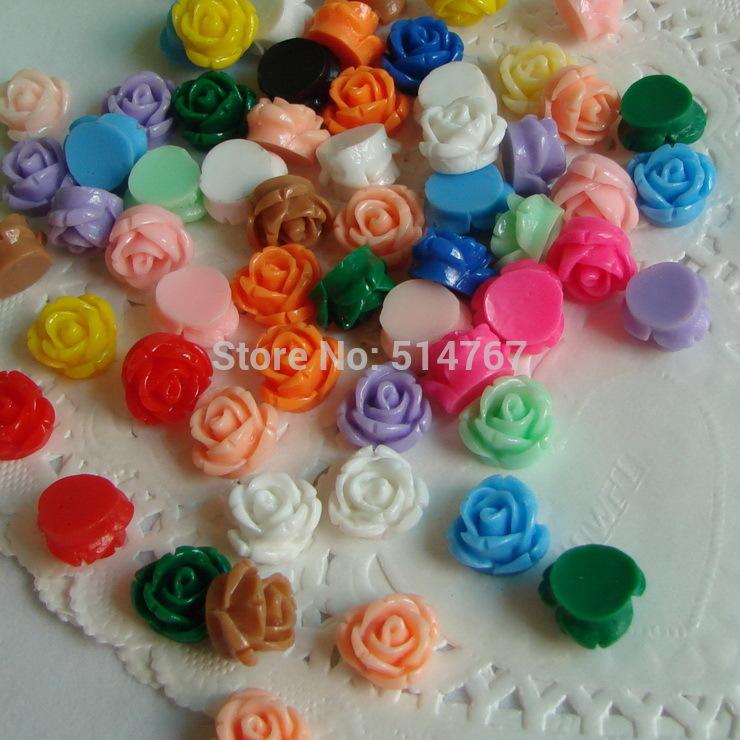 Mixed Color 13mm 100pcs/lot Flat Back Resins, Multi Colors Resin Rose Flower Free Shipping DIY210216(China (Mainland))