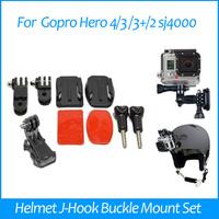 GoPro Accessories Helmet J-Hook Buckle + Curved Adhesive Mount + Three-way Pivot Arm + Screw for Go pro Camera Hero1 2 3 Black