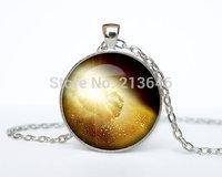 Gold Nebula pendant Gold Nebula necklace Gold Nebula jewelry galaxy universe stars space gift Glass Cabochon Necklace A0096