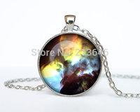 1pcs Lagoon Nebula pendant Lagoon Nebula necklace jewelry galaxy universe stars space gift Glass Cabochon Necklace A0101