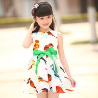 Free shipping! 2014 summer girls dress girls colored birdie vest dress  princess dress, girls bow dress