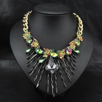 New 2014 Wholesale Women Steampunk Items Party Luxury Rhinestone Chain Choker Pendant & Statement Necklace