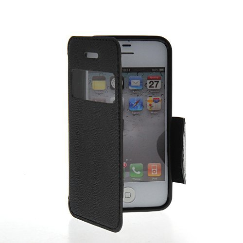 Luxury Design Side Flip Leather Wallet Pouch Stand Case Cover For Apple iPhone 4 / 4S(China (Mainland))