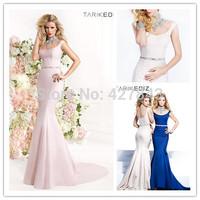Elegant High Colllar Sheer Neck and Back Waist Beadings Long Mermaid Evening Prom Dress Formal Party Long Dress