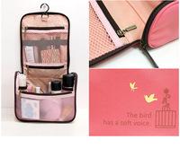 Beautician 2014 Travel Check Waterproof Storage Cosmetic Bag Picnic Sorting Hanging Wash Bag Organizer Case 4 Color