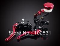 "New High-strength AL Motorcycle Universal Front Brake Clutch Red Master Cylinder Set Reservoir Levers 7/8 """