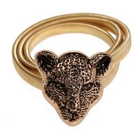 Leopard lion head belts for women  femininos gold elastic waist belts ladies cute elegant 2014 new fashion style free shipping