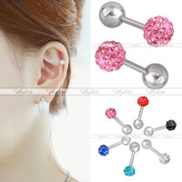 Trendy 16G 50Pcs/Lot Mixed colors Stainless Steel Cubic Zirconia Ball Tragus Cartilage Lobe Barbell Studs Earring