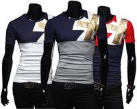 HOT Sales ! Free Shipping 2014 mens t shirt Men's Fashion Short Sleeve Tee T Shirts,3 Colors,O-Neck, Good Quality, Drop Shippin