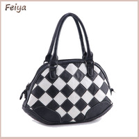FLY172 New 2014 Shell Bag Vintage Elegant Black And White Patchwork Genuine Leather Bags Cowhide Handbag Famous Brand Design