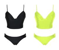 Summer Neon Green /Black Strappy Back Bandage Bikini Set swimwear swimsuit bathing suit B4139 Eshow