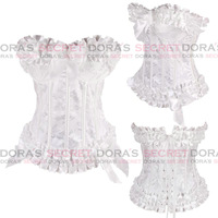 2014 New Arrival Women OverBust Style Lotus Leaf Corset with Cup and Side Zip Ladies Body Corsets Lingerie Free Shipping
