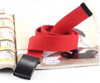 Hot Sale Candy Color Mens Womens Unisex Plain Webbing Cotton Canvas Metal Buckle Belt solid color