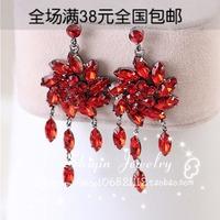 new Fashion Sexy Bohemia horse eye  pendant red showy tassel   drop earring