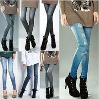 S-XL 2014 New Autumn Stylish Women Denim Like Faux Jean Pants Leggings Plus Size Elastic Hole Pleated Prints Casual Pants