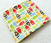 1PCS Width 160CM*50CM Cotton  owl Cartoon Fabric For Baby Cloth Pillow Cushion Curtains Kids home Textile Sewing decoration C8