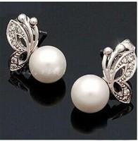 2014 Fashion Korean Jewelry Pearl Earrings Silver free shipping e150