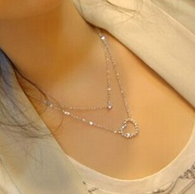 N179 elegant double layer short design love heart necklaces pendants min order 10 mixed items order