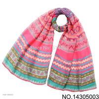 2014 New designer scarves 4 colors Fashion Women Scarves Long Voile Tribal Aztec Scarf Swap Shawl Muslim Hijab monroe 180*110 cm