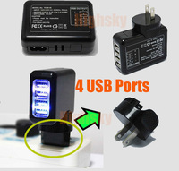 2014 4-Ports USB Travel Charger AC Adapter Wall Power outlet Socket US Plug White or Black HOT