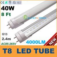 T8 LED Tube Light 40W 8ft 2400mm 2.4m G13 LED fluorescent tube lamp SMD2835 High brightness 4000LM AC85-265V CE RoHS