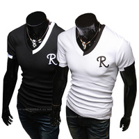Hot ! Free Shipping 2014 mens t shirt Men's Fashion Short Sleeve Tee T Shirts,2 ColorS,V-Neck, Good Quality, Drop Shipping