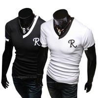 Hot ! Free Shipping 2014 mens t shirt Men's Fashion Short Sleeve Tee T Shirts,2 ColorS,V-Neck, Good Quality, Drop Shipping
