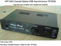 HIFI DAC Coaxial Optical USB Asynchronous TE7022L Tube Decoder Amplifier with Headphone Amplifier 6N3