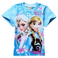 New 2014 Cartoon Kids T shirt 2-8yrs Girls Frozen t-shirts Child Summer Clothes Fashion Brand Girls Clothing Free shipping
