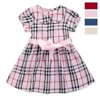 new plaid girls dress 2-6yrs children dress summer kids clothing cotton fashion belt style more color retail 957