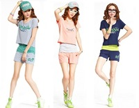 Hot sale!New pure and fresh and contracted letters sportswear/T-shirt + condole belt + shorts/high quality 100% cotton