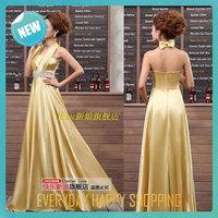 Elegant hot sale prom dresses off the shoulder halter gold solid color empire evening dress vintage performance dress for women