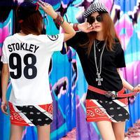 2014 Hot Seller Cease Desist x Trinidad James Side Zipper Lengthen Paisley T-shirt Women Hi-Street Life Style Rap Star T Shirt